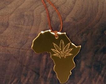 GOLD Africa Pot Leaf Pendant