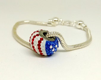 Swarovski Crystal Bead, 14mm Becharmed Pave with American Flag, European Style Charm, Large Hole Bead, Loose Beads, Bracelet Charms, YC0929A