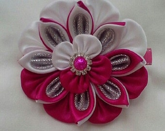 delicate, white rose flower on hair clip