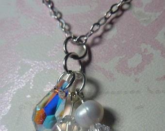 Sterling Silver Swarovski Crystal, Fresh water Pearl Necklace N#3