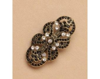 Art Deco 1920s Flapper vintage style gilt, crystal & black stone Barrette, Bridal barrette, French clip, Hair barrette, Ladies Hair clip