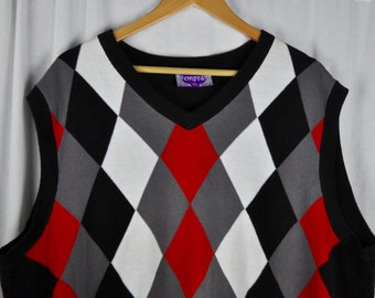 Men's 3X Empra Argyle Sweater Vest Red, Gray and Black Sz XXXL