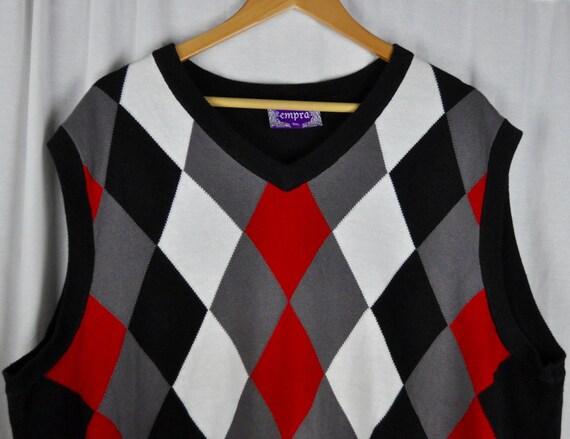 Men's 3X Empra Argyle Sweater Vest Red, Gray and Black Sz XXXL