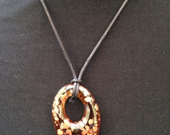 Brown and Gold Murano Glass Pendant Necklace