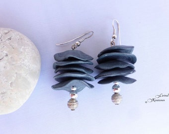 modern grey earrings with slices of Fimo clay