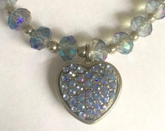 Beaded Light Blue Heart Charm Bracelet