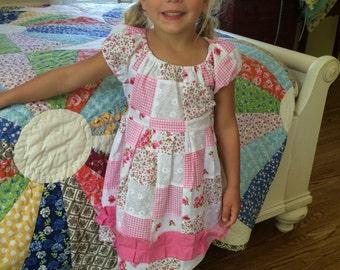 handmade pink patchwork dress {size 4}