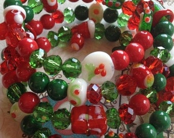 Christmas Jewelry, Layered Red and Green Southwest Boho Bracelet, Christmas Boho Bracelet, Southwest Bracelet, Jewelry. Bracelet