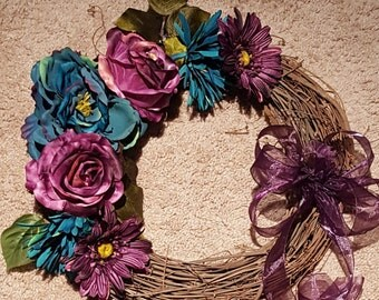 Purple and Teal Rose Wreath