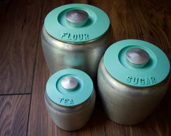 Retro Turquoise Kitchen Canisters - Set of 3