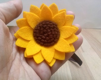 Sunflower headband, Yellow flower headband, Women hair accessory, Adult Headband for women, Wool felt flower hair accessories for women
