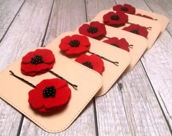 Red Poppy hair pins for women, Red Poppy bobby pins, Poppy hair accessory, Womens hair pins, poppy hair pins, red flower hair pin / set of 2