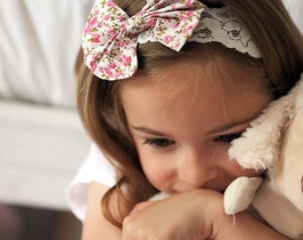 Liberty Girls Tiny Floral Bow Baby Headband Perfect for Parties, Flower Girls, Cake Smash and Newborn Photoshoots
