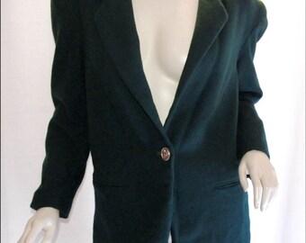 Vintage Dark Green Wool One Button Blazer Size 7 / 8