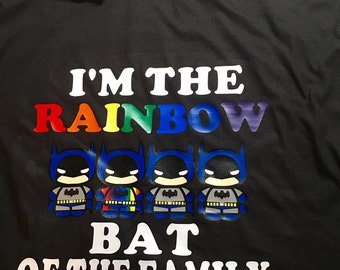 Custom made rainbow batman shirt
