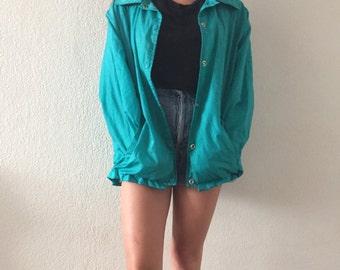 Vintage 80's 100% Nylon/Cotton Teal Jacket
