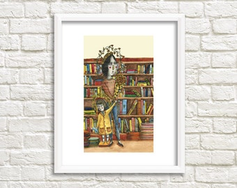 Mother and Child in Library Illustration, Art Print
