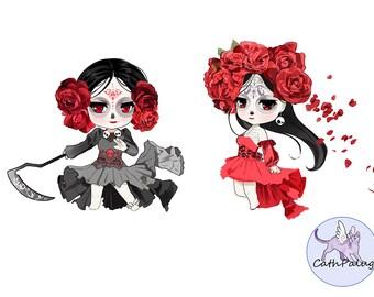 Clip art-Santa Muerte-Sugar Girl Skull Catrina-Saint Death-Day Of The Dead-Calavera-Art for Cards and Crafts-Digital stamp