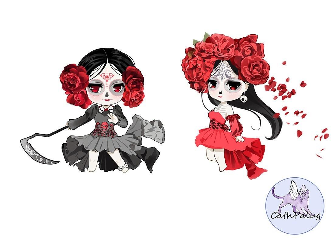 clip art santa muerte sugar girl skull catrina saint death