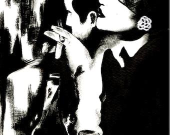 "Original painting ""Retro Woman"". Free shipping!"