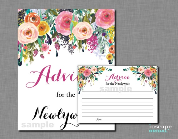 Advice For The NewlyWeds Game Printable Bridal Shower