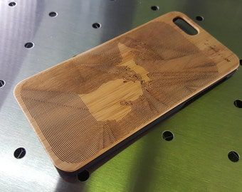 "Wood Backed Phone Case - ""Fingerprint State"" (any state)"