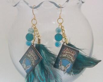 Alice in Wonderland Whimsical Fairytale Book Earrings