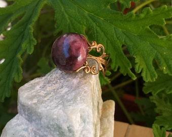 Rhodonite ring, adjustable, Gemstone Ring