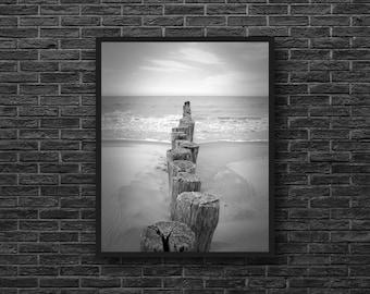 Sea Photo - Beach Photo - Coast - Nautical Photo - Vertical - Black and White - Sea Wall Art - Nautical Wall Decor - Beach House Decor