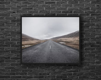 Highway Photo - Road Photo - Road Trip Photo - Grey - Road Photography - Way Photo - Road Wall Art - Men Room Decor - Photography