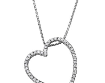 Diamond Heart Pendant Necklace in 14k White Gold (18 Inches)