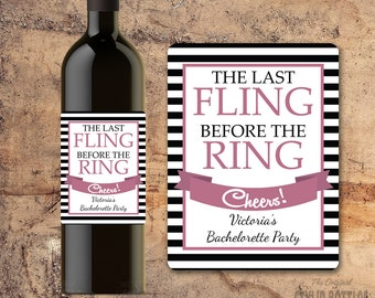 PERSONALIZED BACHELORETTE PARTY Wine Label, The Last Fling, Favors, Gifts, Invite, Custom Wine Bottle Labels