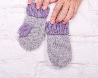 Baby knitted mittens Newborn wool mittens Baby merino mittens Hand knitted mittens Toddler knitted mittens Warm kids mittens Baby mittens