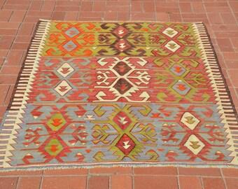Turkish Tribal Kilim Rug, Anatolian Vintage Kilim Rug, Nomadic Turkish Rug