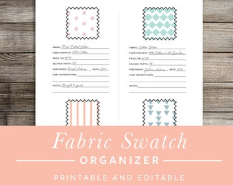 Fabric Swatch Organizer Printable - INSTANT DOWNLOAD - Printable and Editable PDF - Sewing and Crafting Organizer