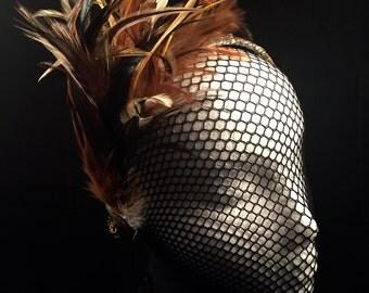 OOAK BoHo Headband Hand Painted Wearable Art Fashion Feathers