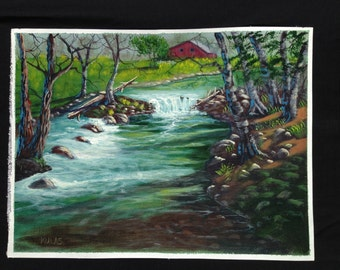 Original Hand Painted Acrylic Paintings Out Door Scenery Landscape On Canvas 9 x 12
