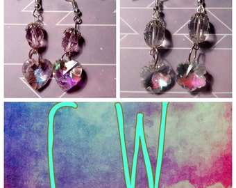 Heart and Snowflake Glass Tinted Earrings