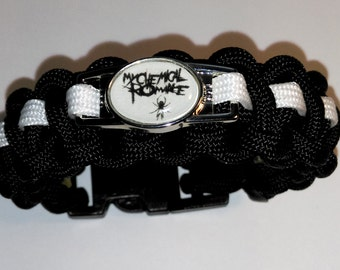 My Chemical Romance - Black Parade & Danger Days Inspired Black/White Paracord Bracelet with Unique MCR Charm