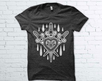Traditional Tattoo Knives and Heart Shirt