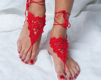 Barefoot sandles/ Red sandals/ Wedding beach party crochet sandals/ foot jewelry shoe/ leg decoration/ hippie sandals/ women teen bridal