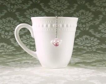 Lavender teapot tea infuser|Cute tea pot charm|Tea stocking stuffer|Tea strainer|Stainless steel mesh ball|Light purple polka dot|Loose tea