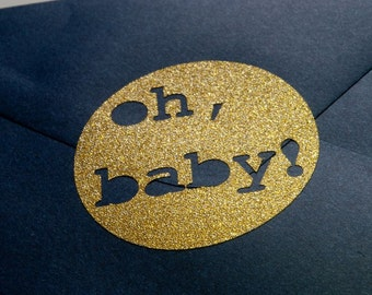 baby shower invitation envelope seals, 20 glitter oh baby stickers, baby announcement seal, envelope seal, glitter baby shower decor, gold