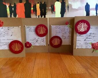 Parisian Red Greeting Cards (Set of 4)/ Eiffel Tower Red Greeting Cards (Set of 4)
