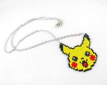 Pikachu Necklace - Pokemon Necklace Pokemon Jewelry Pixel Necklace Video Game Necklace 8bit Jewelry Geeky Gifts Anime Necklace