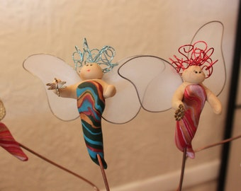 Handcrafted Earth Angels Plant Pot or Ground Stake Angel Fairy Figurine Decoration Polymer Clay