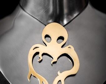 Octopus brass pendant