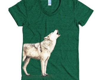 Lone Wolf T Shirt - Howling Wolf Tee Shirt - Wolf Shirt - Women's American Apparel T Shirt - Item 1056