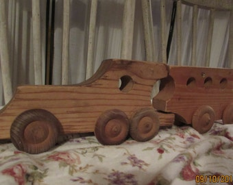 vintage handmade wooden train toy. 2 pc