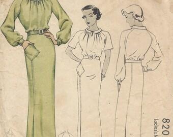 1935 Vintage Sewing Pattern B34 DRESS (1481)
